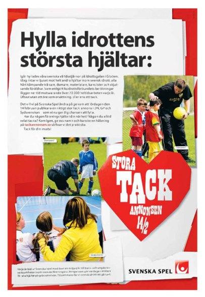 Tackannonsen - Helsida i DN 2008-01-20