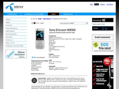 telenor.se - gammal produktsida