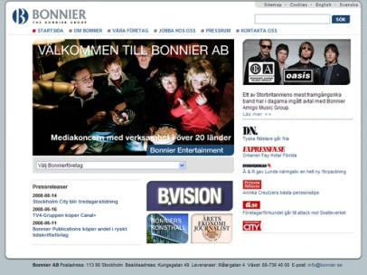 bonnier.se (Bonnier) Gamla sajten